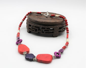 Red turquoise beaded necklace, colorful turquoise choker, purple and red necklace, unique gift idea for her