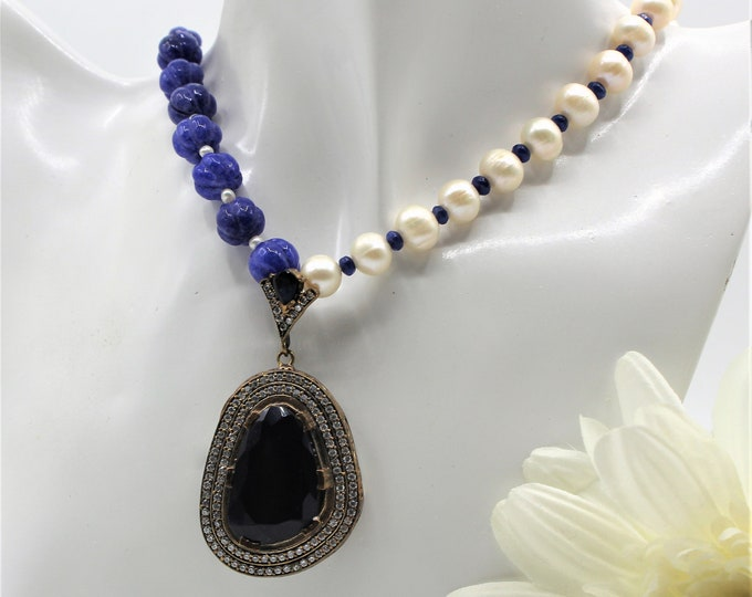 Blue sapphire and pearl pendant necklace, Bridal glamorous accessory,unique statement necklace, natural gemstone necklace