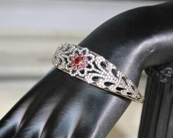 Ruby bracelet, ruby bangle, Victorian style bracelet, Sterling silver bracelet