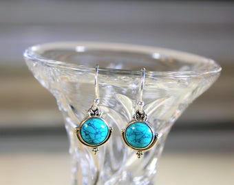 Turquoise earrings, drop earrings, sterling silver earrings, dangle earrings