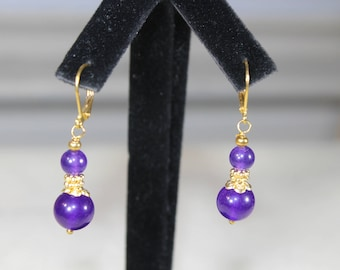 Amethyst earrings, drop earrings, purple earrings, dangle earrings