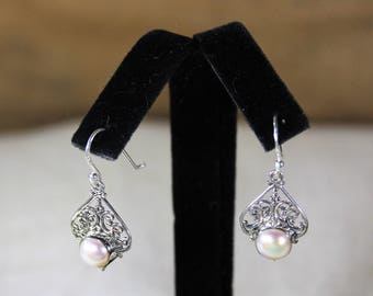 Pearl earrings, drop earrings, sterling silver earrings, dangle earrings