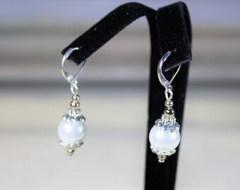 Pearl earrings, drop earrings, silver earrings, dangle earrings