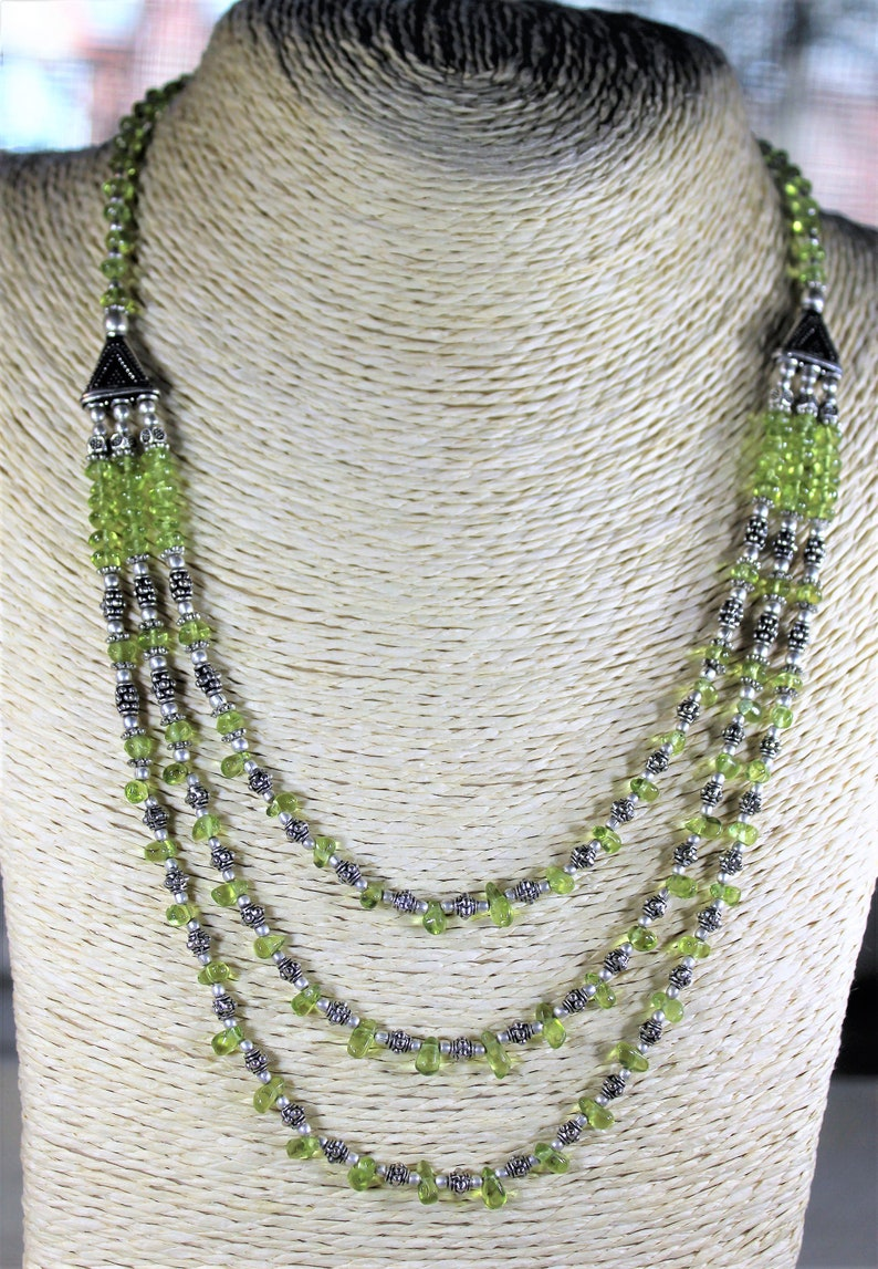 beaded necklace gift for her multi strand necklace green necklace statement necklace Peridot necklace