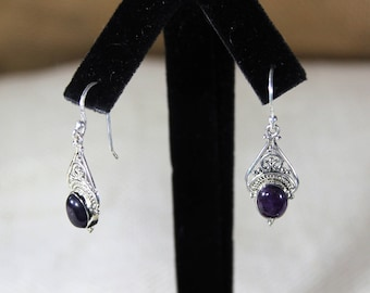 Amethyst earrings, sterling silver earrings, drop earrings, purple earrings, dangle earrings