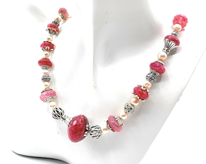 Graduated pink agate beaded necklace, elegant pearl and gem strand, colorful gemstone choker, unique gift for her