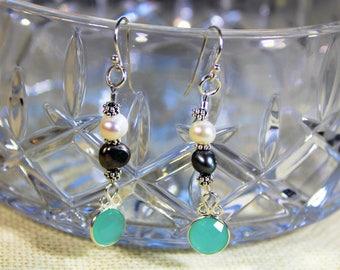 Blue chalcedony earrings, dangle earrings, pearl earrings, drop earrings, .925 Sterling silver earrings