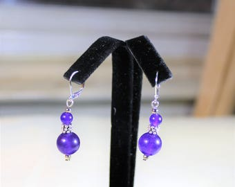 Amethyst earrings, drop earrings, sterling silver earrings, dangle earrings, purple earrings