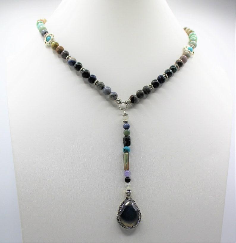 Natural lapis lazuli GemTree Of Life Locket Retro Silver Pendant Jewelry making
