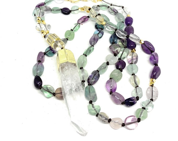 Fluorite beaded necklace with quartz pendant, multi color hand knotted long strand, colorful elegant statement necklace for women