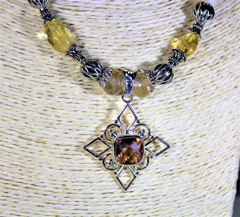 beaded necklace Sterling silver cross necklace citrine and pearl necklace golden quartz necklace cross necklace gift for her