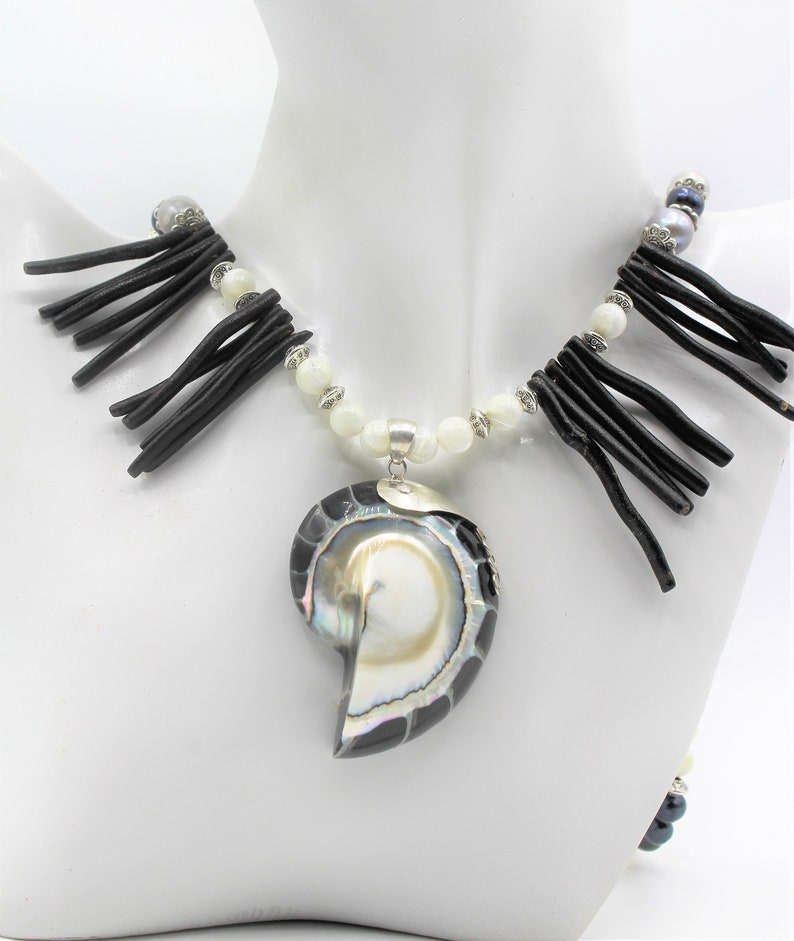 whimsical long strand Black and white coral beaded necklace with nautilus pendant pearl and coral statement necklace gift for her