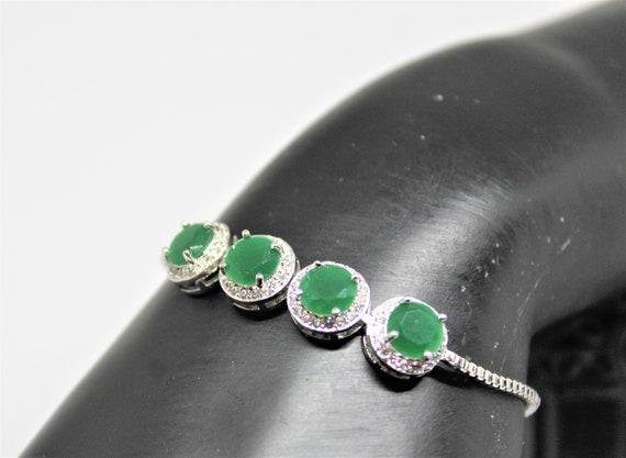 Birthstone Bracelet Gifts for Her Sterling Silver Adjustable Bolo Bracelet Natural Emerald Gemstone Bracelet