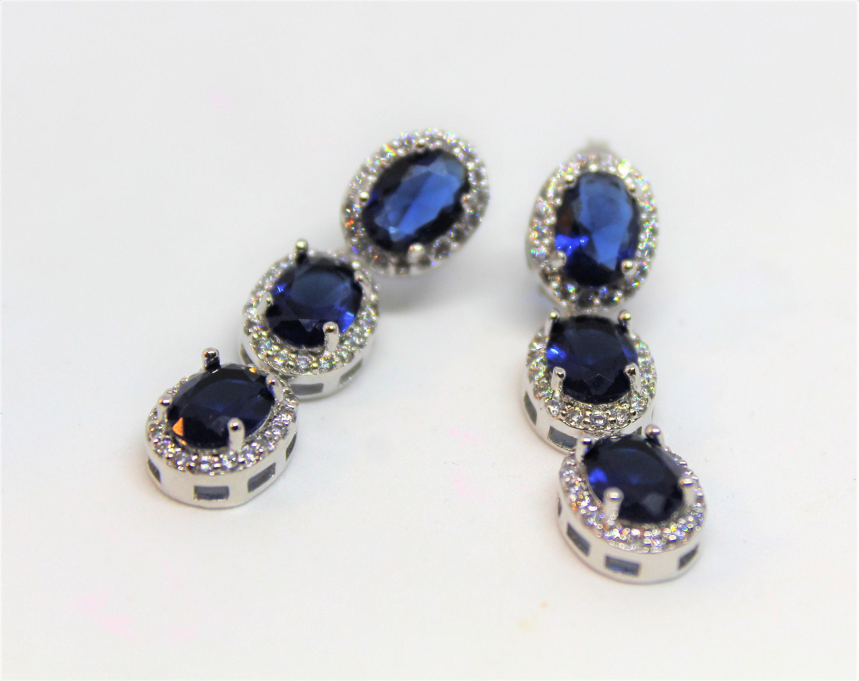 Blue Sapphire /& Topaz 925 silver drop earrings free gift box