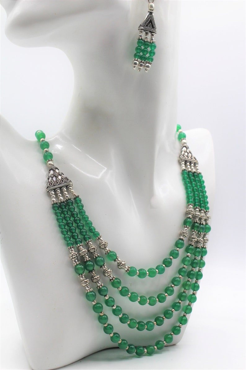 beaded necklace and earrings set elegant statement two piece set Green onyx multi strand necklace set unique wedding gift for women