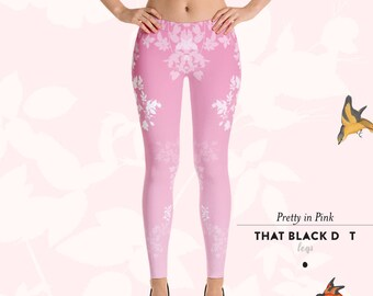 837f24d3642e68 Pretty in Pink Ombré Leggings - US Free Shipping. Designer Fashion Active Tights  Leggings - That Black Dot Legs, pink floral yoga gym pants