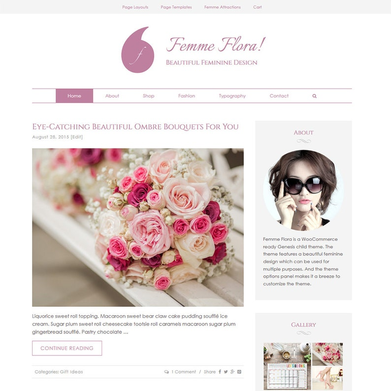 Responsive Ecommerce WordPress Genesis Feminine Theme: Femme image 0