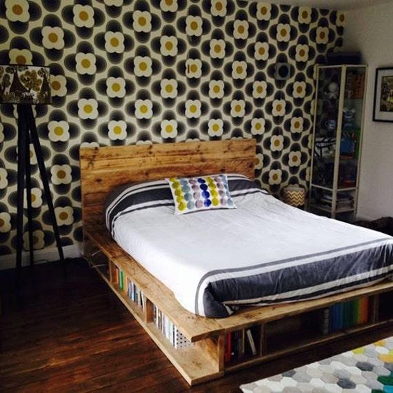 vintage industrial bookcase bed handmade uk etsy. Black Bedroom Furniture Sets. Home Design Ideas