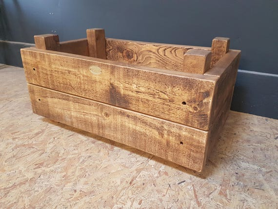 Rustic Raised Wooden Planter Box Handmade Uk Etsy