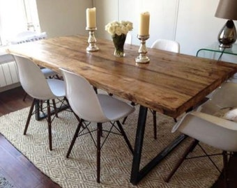 Awesome Vintage Industrial Rustic Reclaimed Plank Top Dining Table With Triangle  Steel Base (Handmade UK)