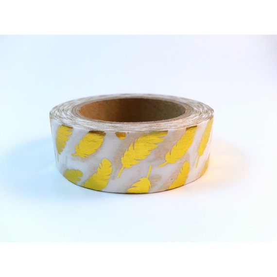Foil Washi Tape Gold Foil Feathers 15mm x 10m Pretty Feather Masking Tape
