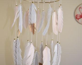 Baby Nursery Mobile Dreamcatcher, Baby Girl Nursery Mobile, Blush Pink Gold Nursery Decor, Tribal WoodlandBaby Shower Gift