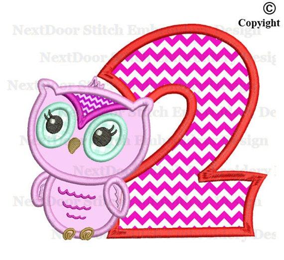 Eule Stickerei Design Susse Girly Eule 2 Geburtstag Nummer 1 Etsy
