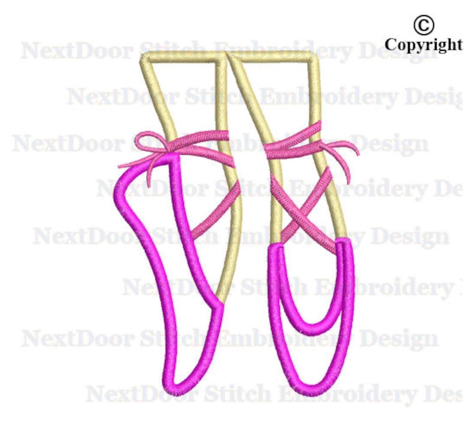 ballet shoes embroidery applique design, ballerina dancing applique download, sh-004