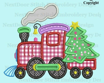 Christmas tree on train embroidery applique design, car Machine Embroidery, chrs-143