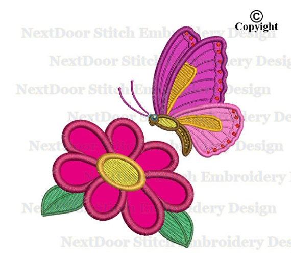 Motif de broderie de papillon, fleur machine broderie motif papillons digitale, btf-004