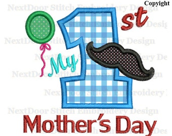 Mother's Day embroidery Design for boys 1st, Mustache Balloon number 1-9 selection, mother-005-1