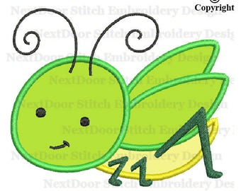 Grasshopper embroidery applique design,  baby bug machine embroidery, grh-002