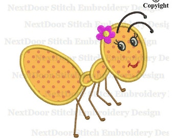 Girly Ants embroidery design, bug machine embroidery applique download, ant-001