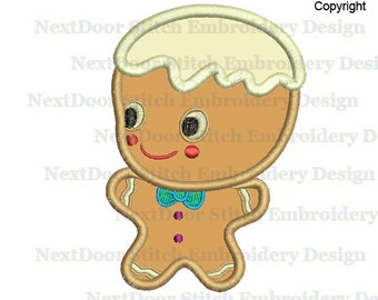 Gingerbread Machine Embroidery Applique Design, Kid Boy Digitized Standing Baby Instant Download,  food-001