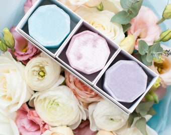 Styled Velvet Box Set - Velvet Ring Box - Vintage - Jewellery Box  - Wedding - Personalized Gift - Morning Mist - Wild Rose - Pink Lavender