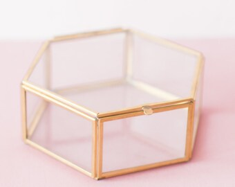 Hexagon Glass Jewelry Box Glass Display Box Large Jewelry Box Large Glass Box Geometric Glass Box Clear Box Glass Display