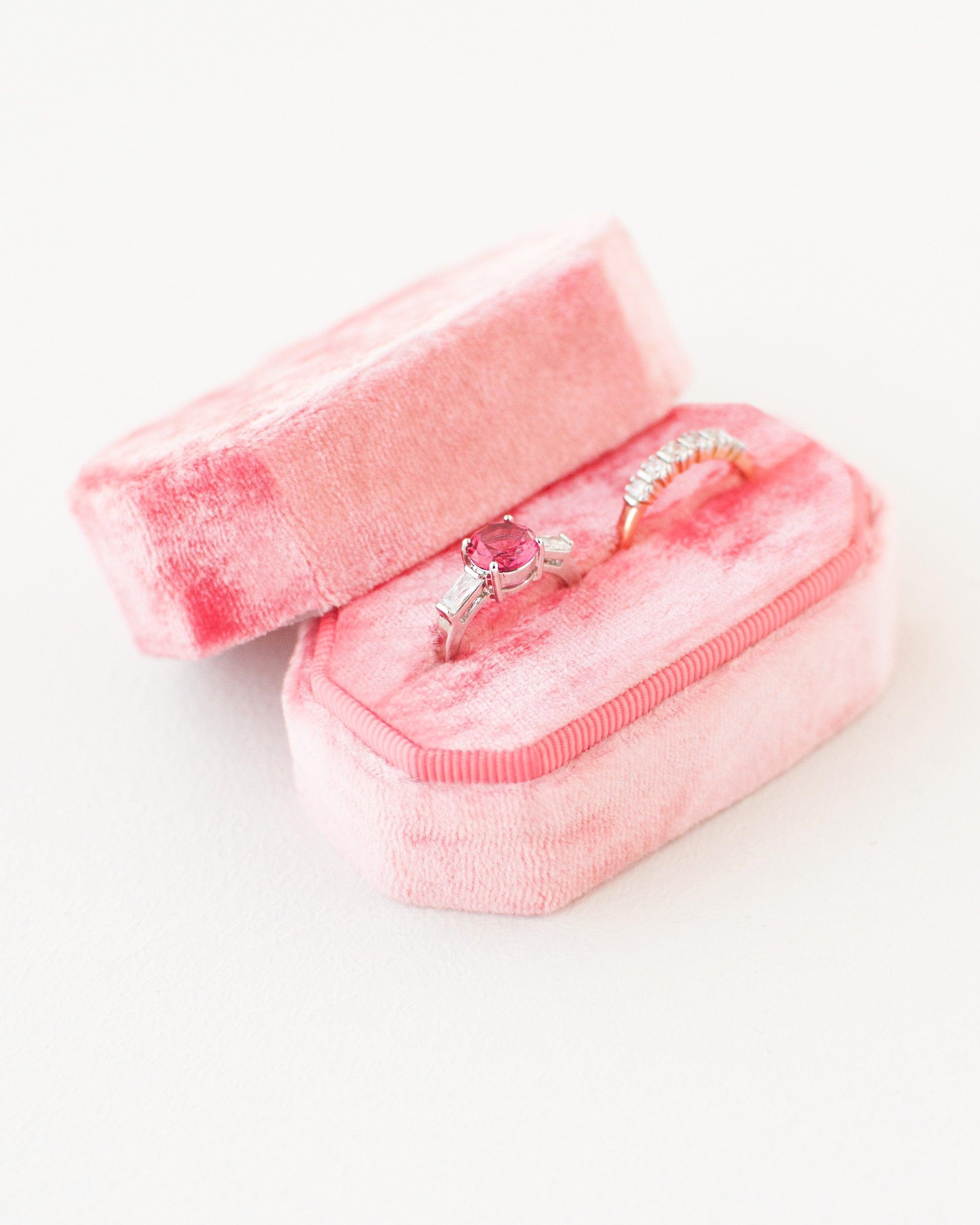 Double Ring Box Velvet Ring Box Vintage Engagement ring | Etsy