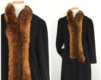 81085dbc5352f Vintage 70s Black Wool Dress Coat | Mink Fur Trim Chesterfield Coat | Long  Wool Coat | Fur Collar Maxi Coat | Sears The Fashion Place | Med