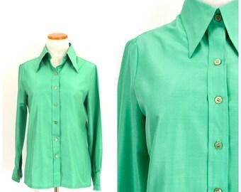 Chemisier vintage des années 60 à la menthe verte | Manches longues bouton vers le bas de la chemise en Polyester croustillant Secrétaire vert Pastel chemisier soyeux Top Sz cerf blanc Sm