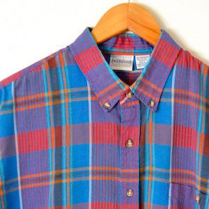 Vintage 80/'s IZOD Red Plaid Madras Short Sleeve Button Down Oxford Shirt