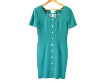 Robe en soie Vintage NORDSTROM | Robe de Secrétaire vert bleu turquoise | Robe crayon MOD | Manches courtes boutonnées genou longueur Shift robe petit