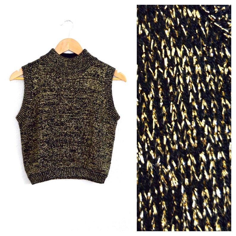 c2503492a0d34e Gold Metallic Sweater 90s Sleeveless Crop Top Sweater Black
