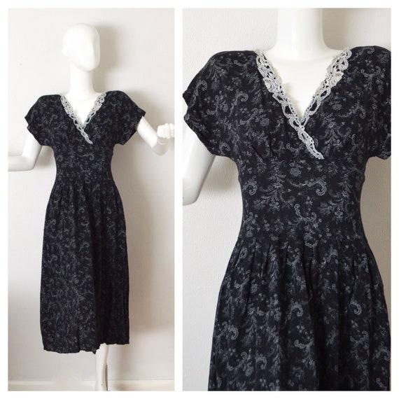 90s Grunge Floral Rayon Dress Black Floral Prairie Dress  fb018a712