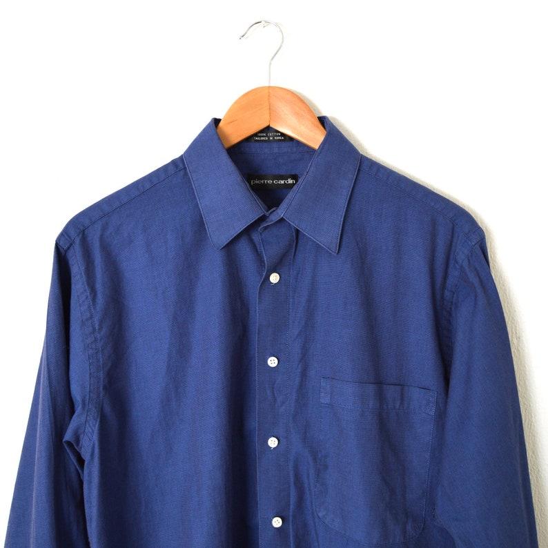 324f83e34b9020 90s Electric Blue Dress Shirt Long Sleeve Button Down | Etsy