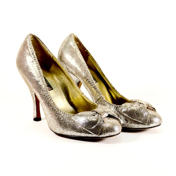 a0d3704383a Genuine Leather Silver High Heels Vintage 90s Heels Metallic