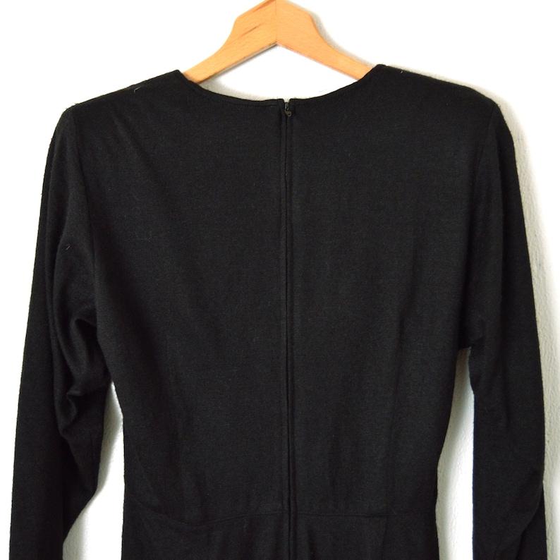 Long Sleeve Pleated Dress Above Knee Pencil Dress Cocktail Dress CAROL ANDERSON Size Small Black Wool Dress 80s Little Black Dress
