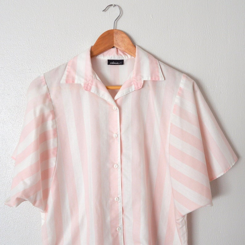 a0674009 80s Batwing Blouse White & Pink Striped Button Down Womens   Etsy