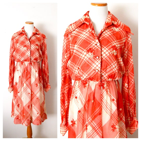 1970s Shirt Dress | White & Red Checkered Dress |