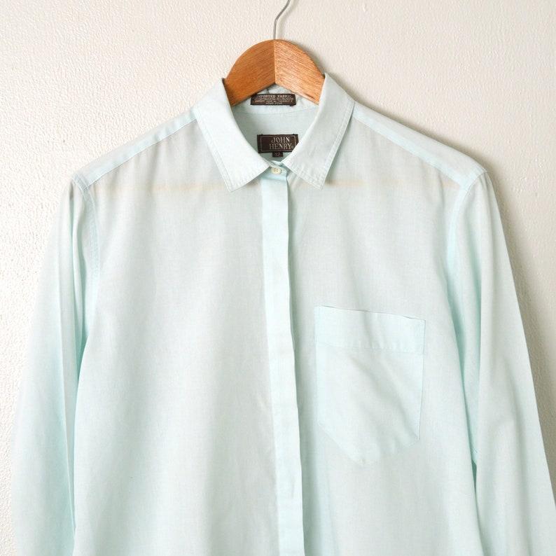098e5050996e16 70s Womens Oxford Shirt Long Sleeve Button Down Aqua Blue | Etsy