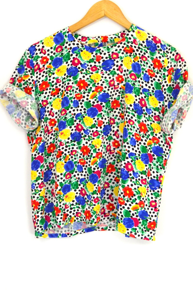 f89112a198b25 Vintage 80s Floral Polka Dot Blouse Rayon Painterly